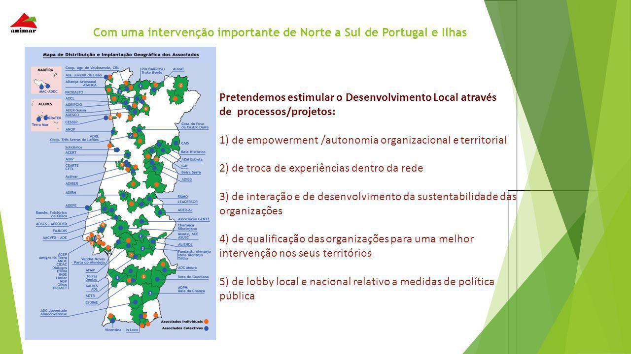 Com uma intervenção importante de Norte a Sul de Portugal e Ilhas Pretendemos estimular o Desenvolvimento Local através de processos/projetos: 1) de e