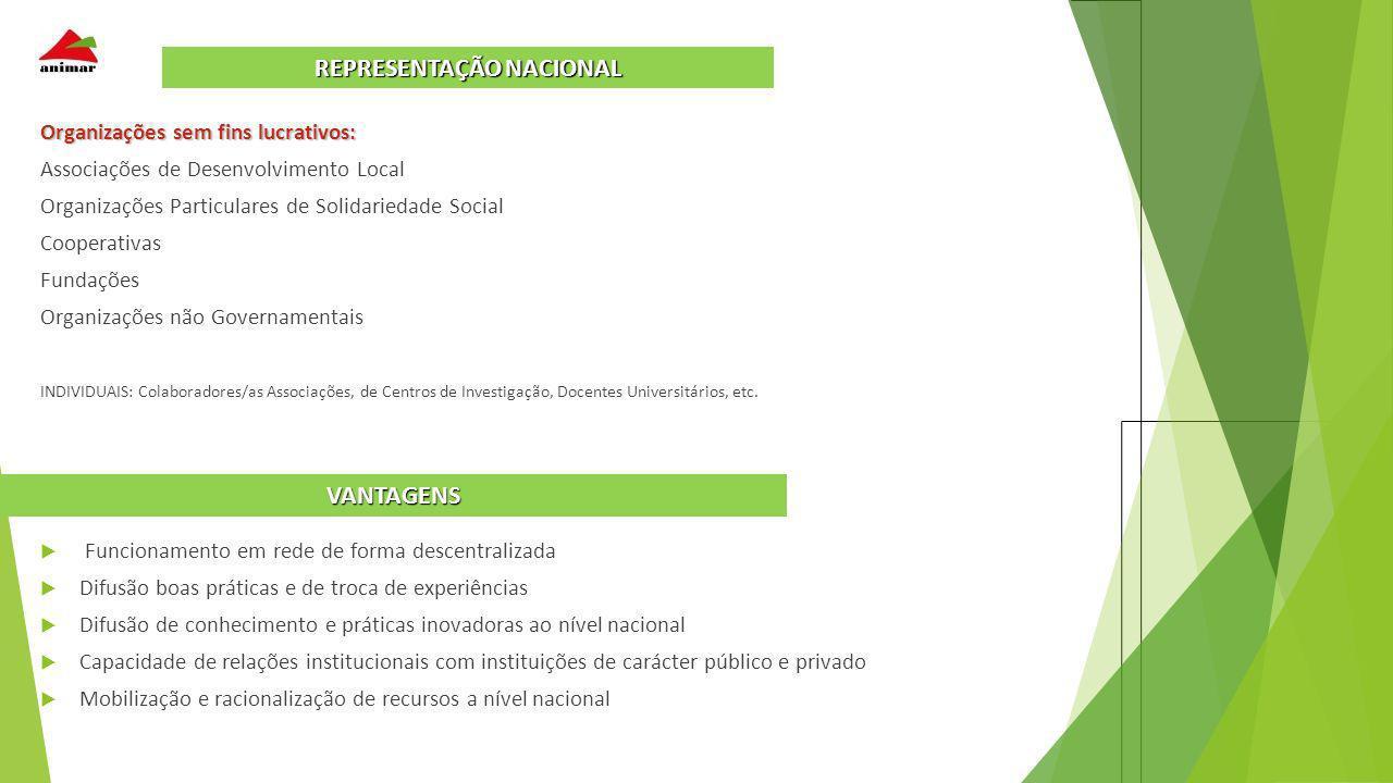 Organizações sem fins lucrativos: Associações de Desenvolvimento Local Organizações Particulares de Solidariedade Social Cooperativas Fundações Organi