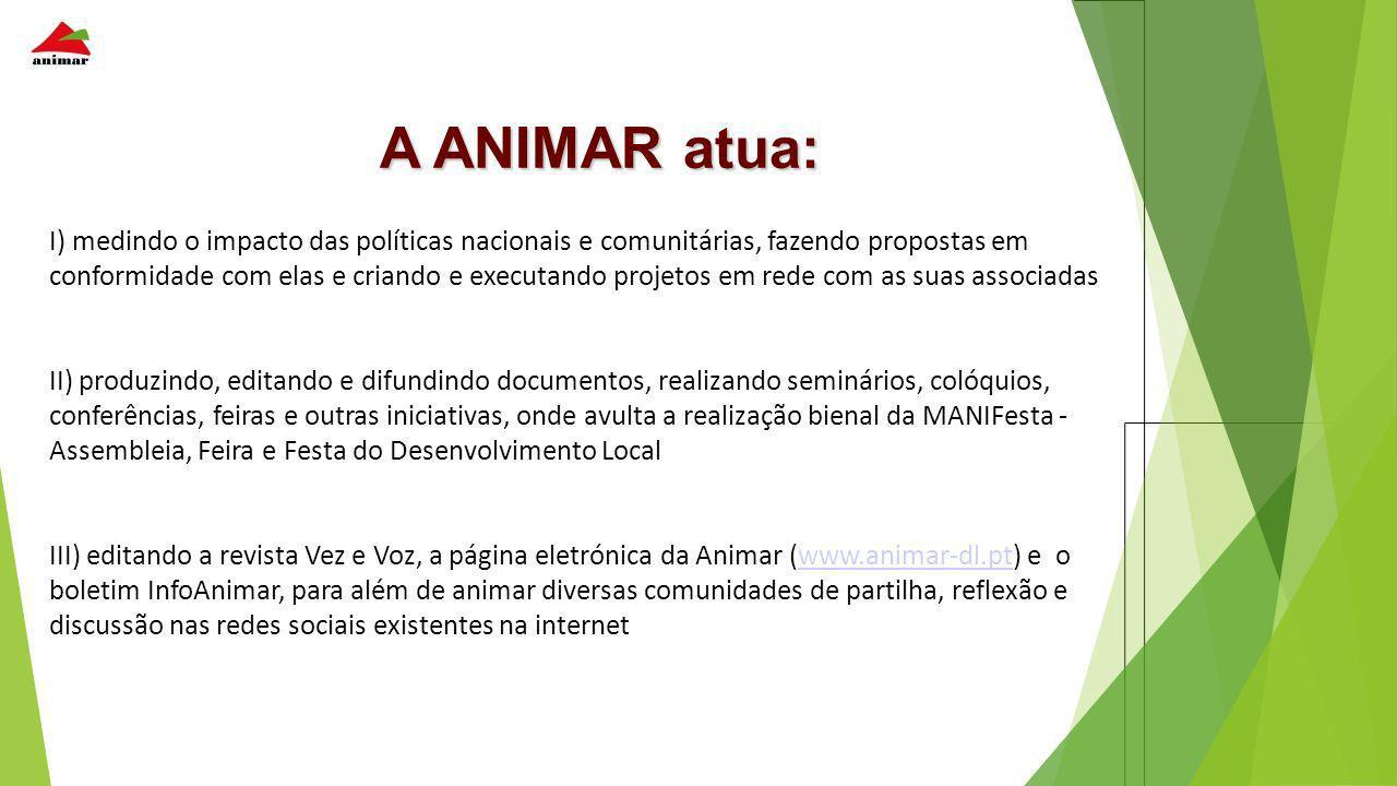 A ANIMAR atua: I) medindo o impacto das políticas nacionais e comunitárias, fazendo propostas em conformidade com elas e criando e executando projetos