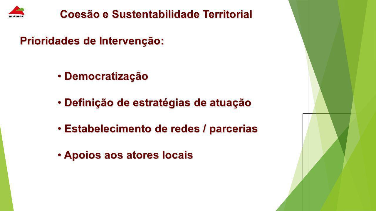 Coesão e Sustentabilidade Territorial Prioridades de Intervenção: Democratização Democratização Definição de estratégias de atuação Definição de estra