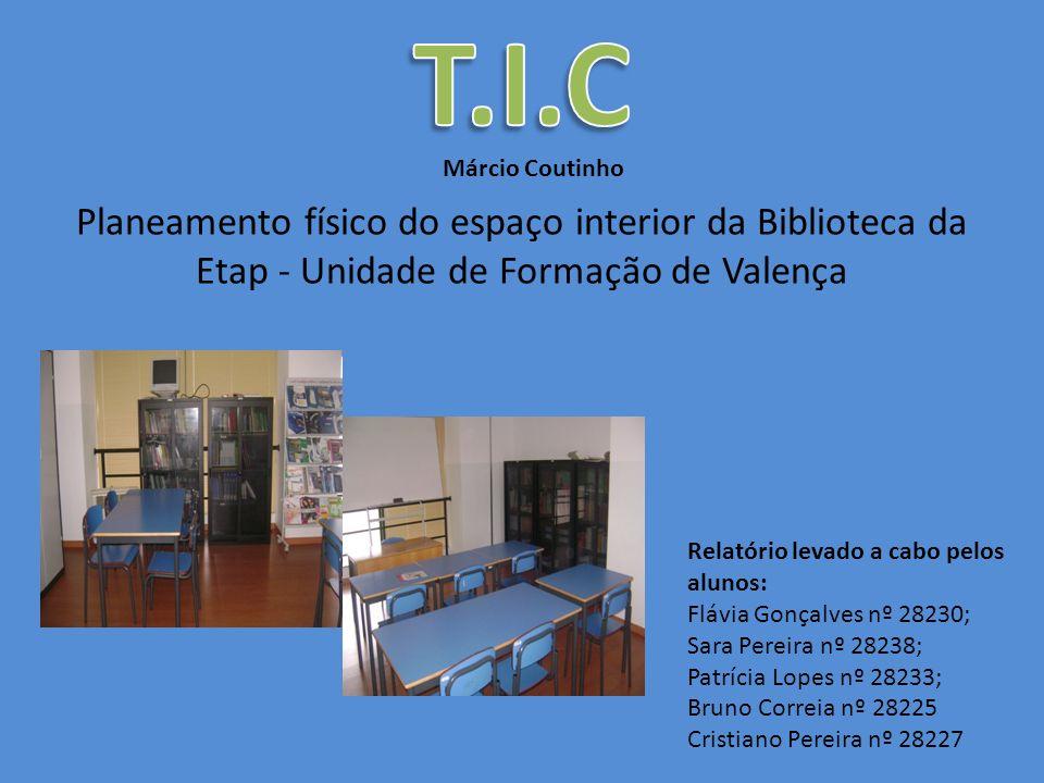 Planeamento físico do espaço interior da Biblioteca da Etap - Unidade de Formação de Valença Márcio Coutinho Relatório levado a cabo pelos alunos: Flá