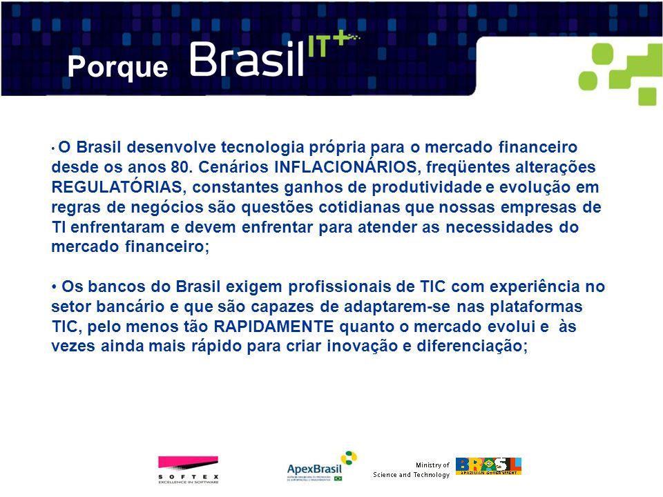O Brasil desenvolve tecnologia própria para o mercado financeiro desde os anos 80. Cenários INFLACIONÁRIOS, freqüentes alterações REGULATÓRIAS, consta