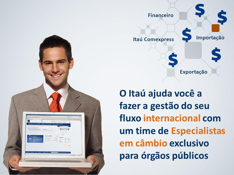 O Itaú ajuda você a fazer a gestão do seu fluxo internacional com um time de Especialistas em câmbio exclusivo para órgãos públicos Itaú Comexpress Im