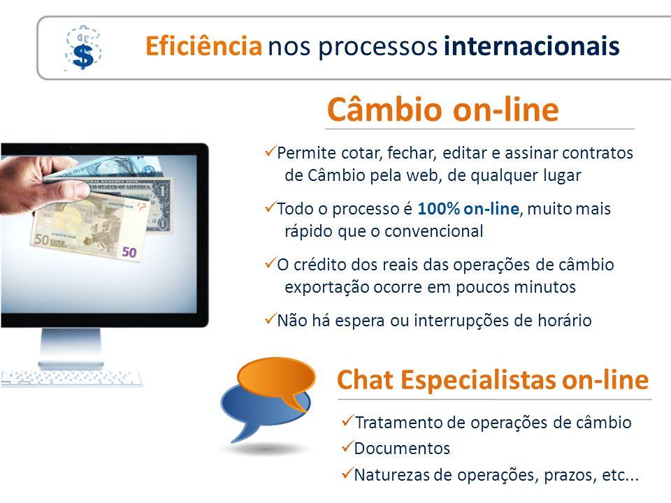 Permite cotar, fechar, editar e assinar contratos de Câmbio pela web, de qualquer lugar Todo o processo é 100% on-line, muito mais rápido que o conven