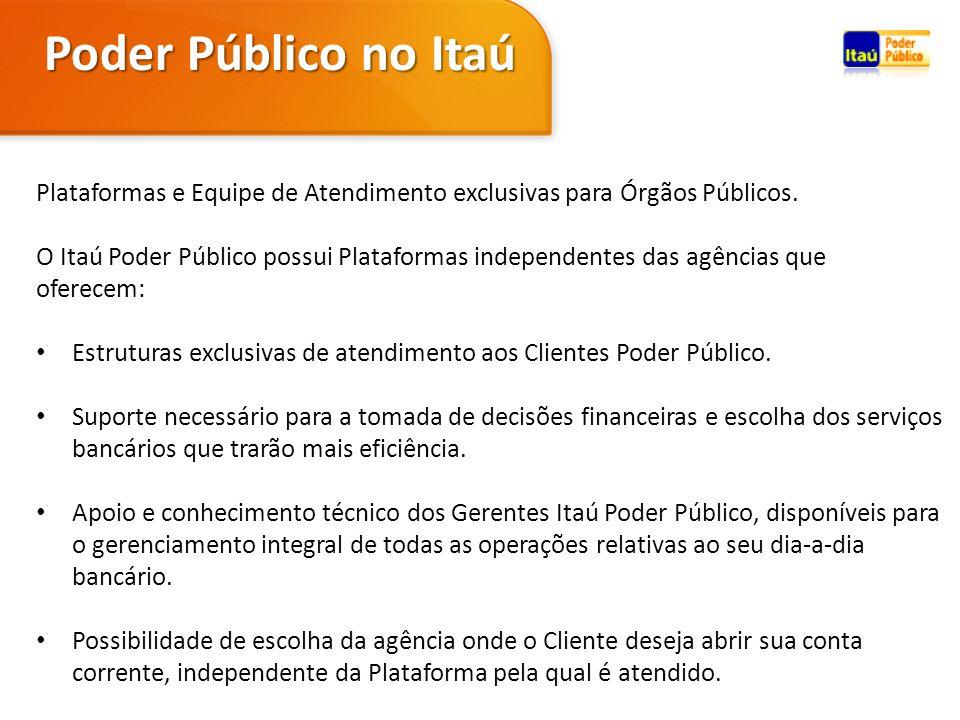 Plataformas e Equipe de Atendimento exclusivas para Órgãos Públicos. O Itaú Poder Público possui Plataformas independentes das agências que oferecem: