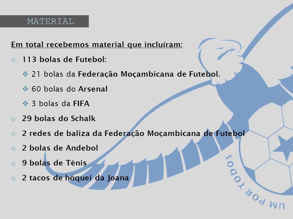 MATERIAL Em total recebemos material que incluíram: o 113 bolas de Futebol: 21 bolas da Federação Moçambicana de Futebol. 60 bolas do Arsenal 3 bolas