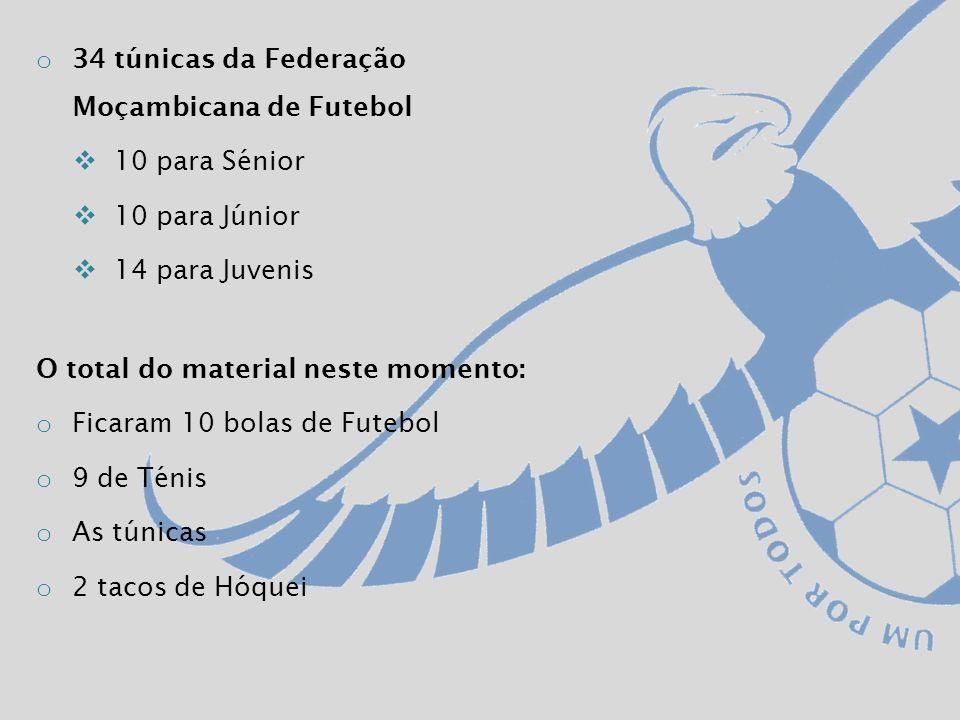 o 34 túnicas da Federação Moçambicana de Futebol 10 para Sénior 10 para Júnior 14 para Juvenis O total do material neste momento: o Ficaram 10 bolas de Futebol o 9 de Ténis o As túnicas o 2 tacos de Hóquei