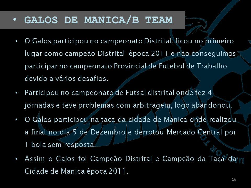O Galos participou no campeonato Distrital, ficou no primeiro lugar como campeão Distrital época 2011 e não conseguimos participar no campeonato Provincial de Futebol de Trabalho devido a vários desafios.