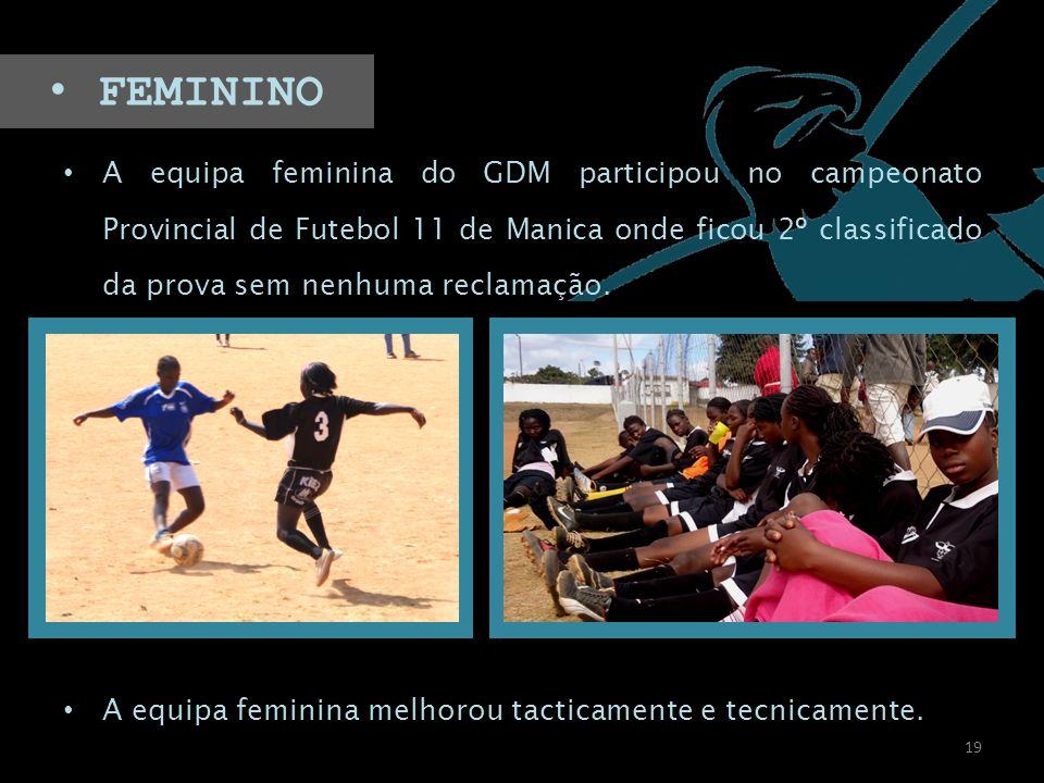 A equipa feminina do GDM participou no campeonato Provincial de Futebol 11 de Manica onde ficou 2º classificado da prova sem nenhuma reclamação. A equ