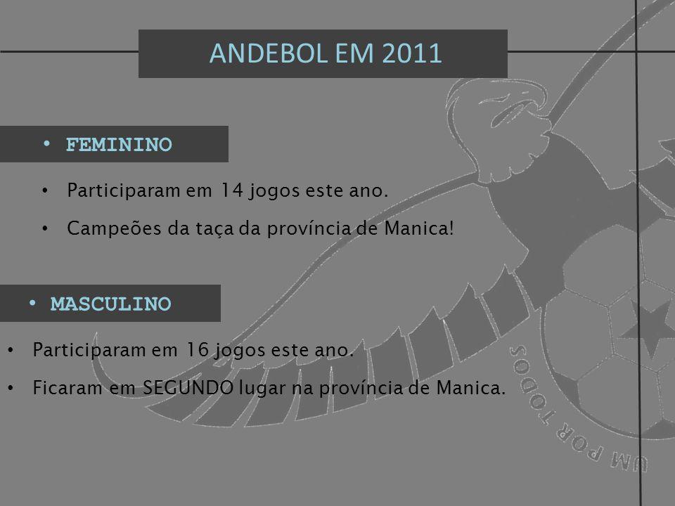 ANDEBOL EM 2011 FEMININO Participaram em 14 jogos este ano. Campeões da taça da província de Manica! MASCULINO Participaram em 16 jogos este ano. Fica
