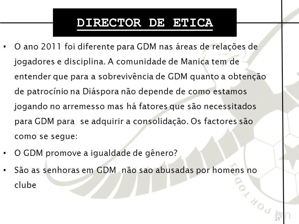 28 O ano 2011 foi diferente para GDM nas áreas de relações de jogadores e disciplina.