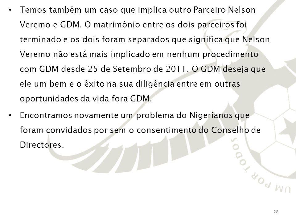 Temos também um caso que implica outro Parceiro Nelson Veremo e GDM. O matrimónio entre os dois parceiros foi terminado e os dois foram separados que