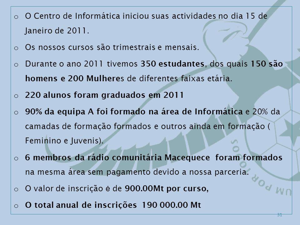 o O Centro de Informática iniciou suas actividades no dia 15 de Janeiro de 2011. o Os nossos cursos são trimestrais e mensais. o Durante o ano 2011 ti