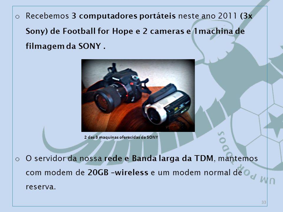 o Recebemos 3 computadores portáteis neste ano 2011 (3x Sony) de Football for Hope e 2 cameras e 1machina de filmagem da SONY.