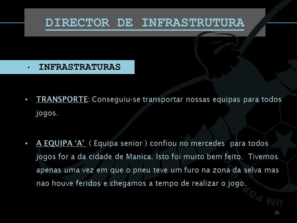 DIRECTOR DE INFRASTRUTURA TRANSPORTE: Conseguiu-se transportar nossas equipas para todos jogos. A EQUIPA A ( Equipa senior ) confiou no mercedes para