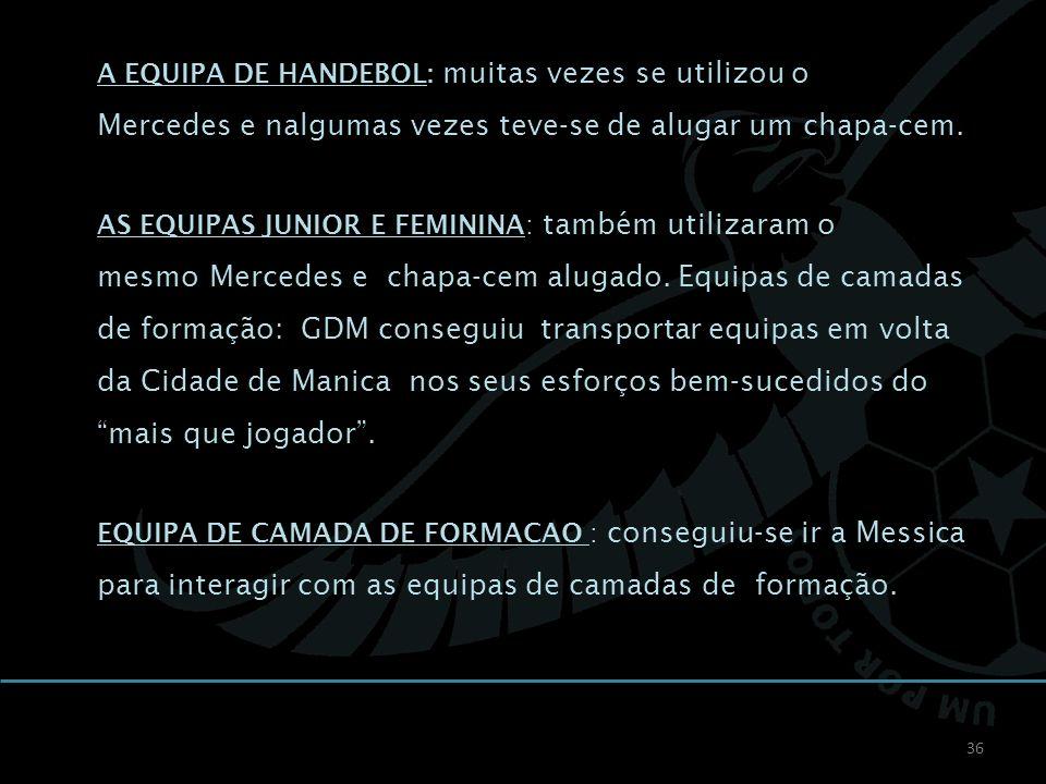 36 A EQUIPA DE HANDEBOL: muitas vezes se utilizou o Mercedes e nalgumas vezes teve-se de alugar um chapa-cem. AS EQUIPAS JUNIOR E FEMININA: também uti