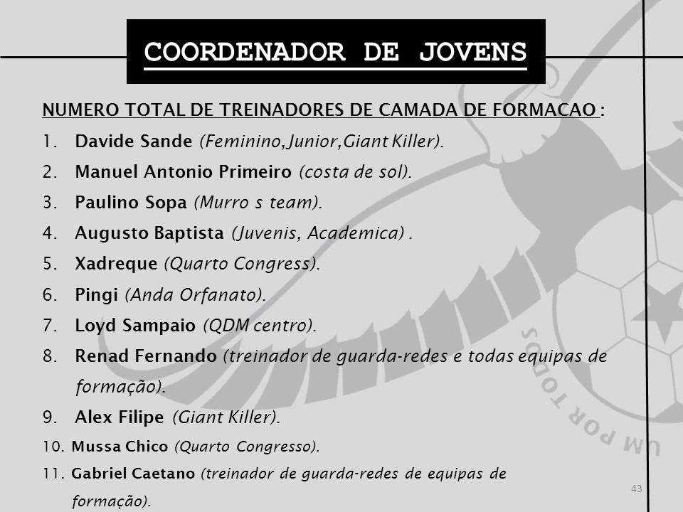 NUMERO TOTAL DE TREINADORES DE CAMADA DE FORMACAO : 1. Davide Sande (Feminino,Junior,Giant Killer). 2. Manuel Antonio Primeiro (costa de sol). 3. Paul
