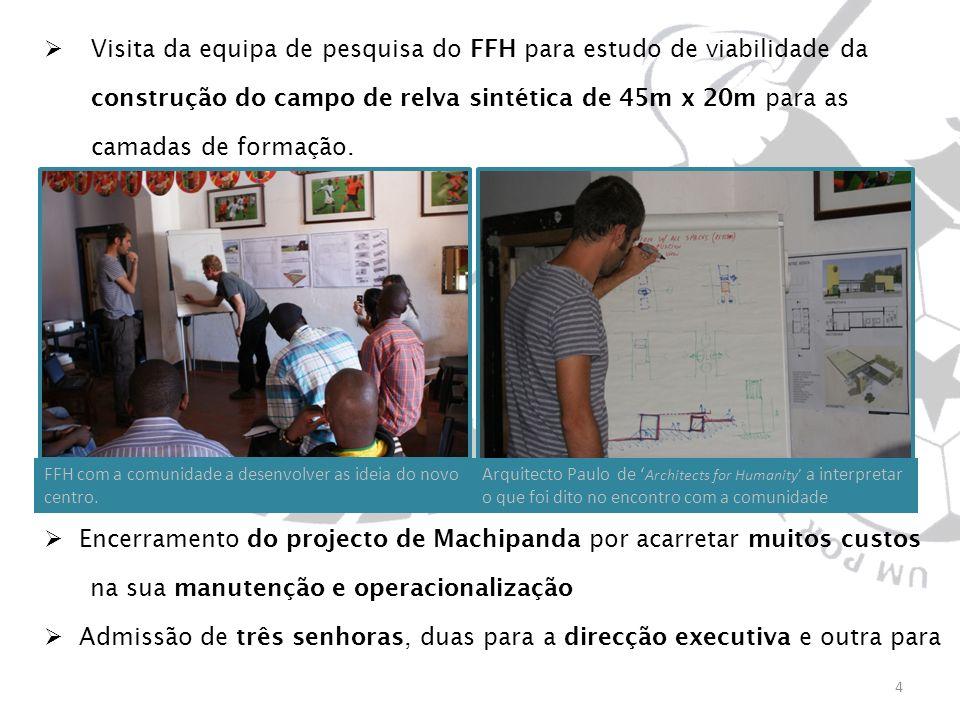 Visita da equipa de pesquisa do FFH para estudo de viabilidade da construção do campo de relva sintética de 45m x 20m para as camadas de formação. Enc