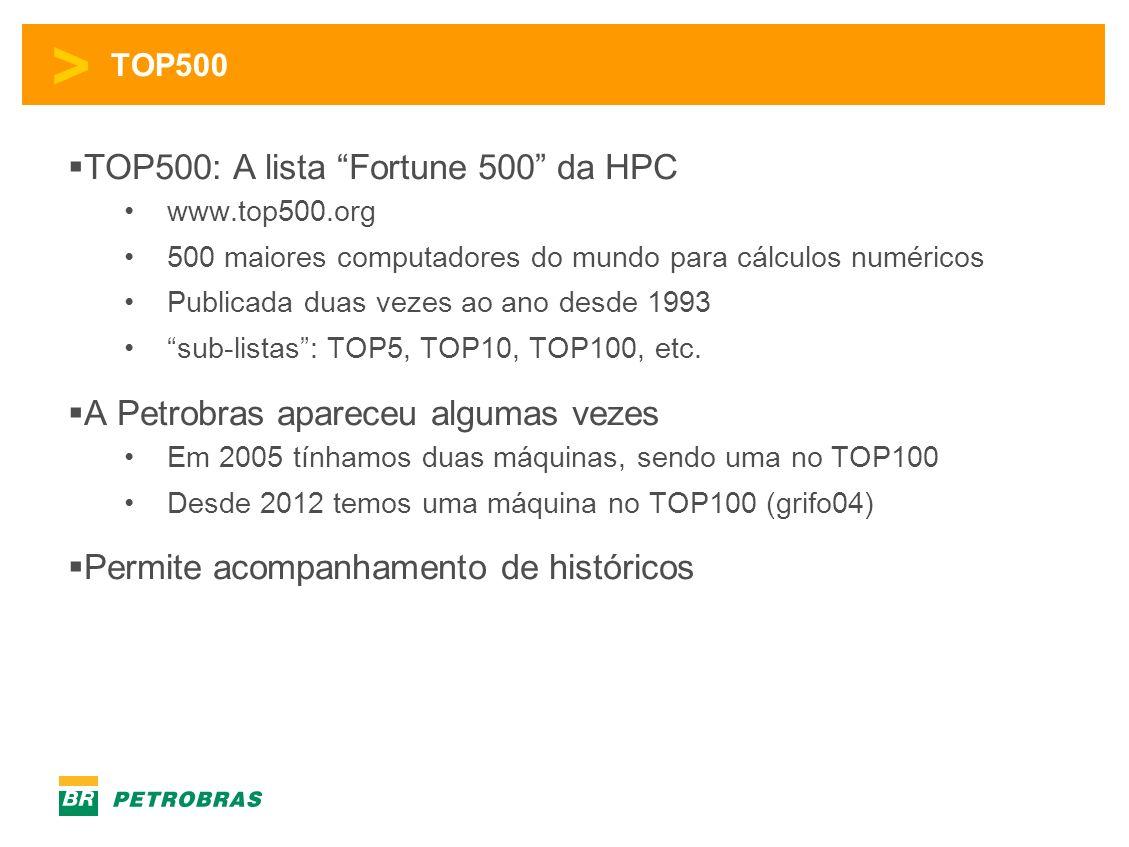 > TOP500 TOP500: A lista Fortune 500 da HPC www.top500.org 500 maiores computadores do mundo para cálculos numéricos Publicada duas vezes ao ano desde 1993 sub-listas: TOP5, TOP10, TOP100, etc.