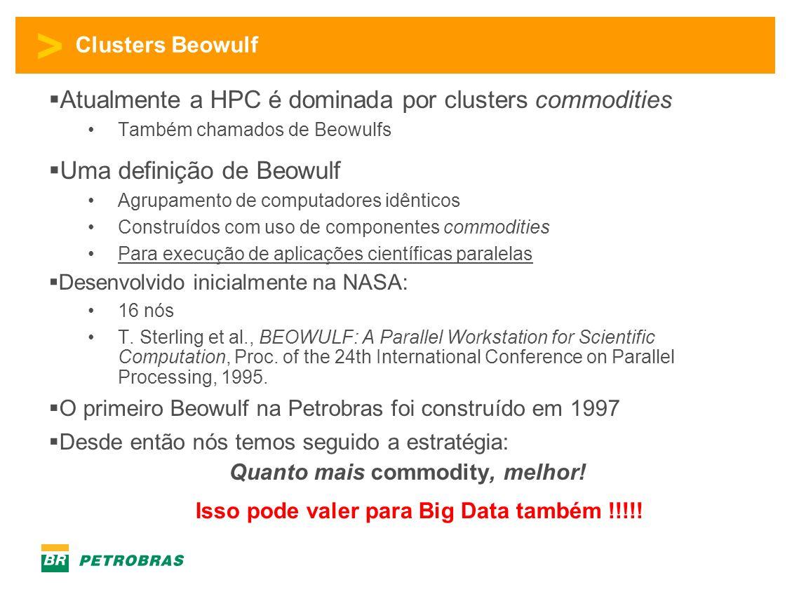 > Clusters Beowulf Atualmente a HPC é dominada por clusters commodities Também chamados de Beowulfs Uma definição de Beowulf Agrupamento de computadores idênticos Construídos com uso de componentes commodities Para execução de aplicações científicas paralelas Desenvolvido inicialmente na NASA: 16 nós T.