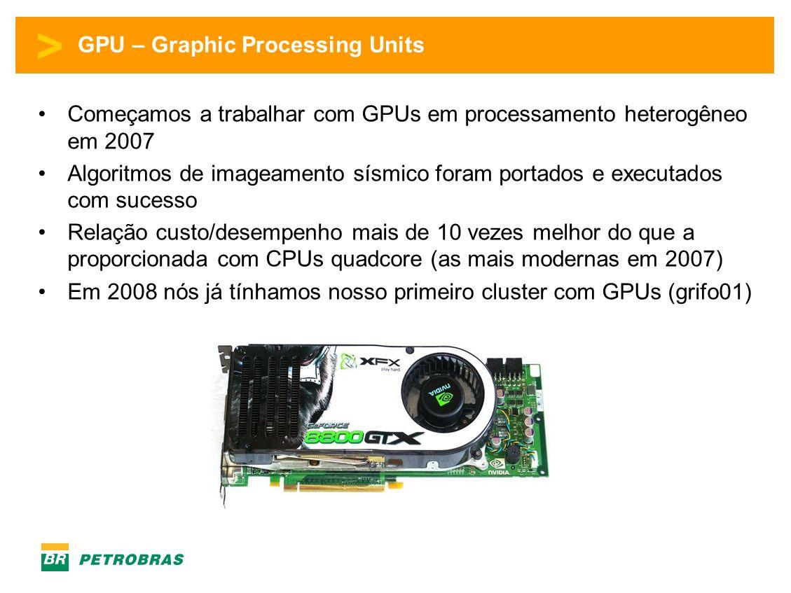 > GPU – Graphic Processing Units Começamos a trabalhar com GPUs em processamento heterogêneo em 2007 Algoritmos de imageamento sísmico foram portados e executados com sucesso Relação custo/desempenho mais de 10 vezes melhor do que a proporcionada com CPUs quadcore (as mais modernas em 2007) Em 2008 nós já tínhamos nosso primeiro cluster com GPUs (grifo01)