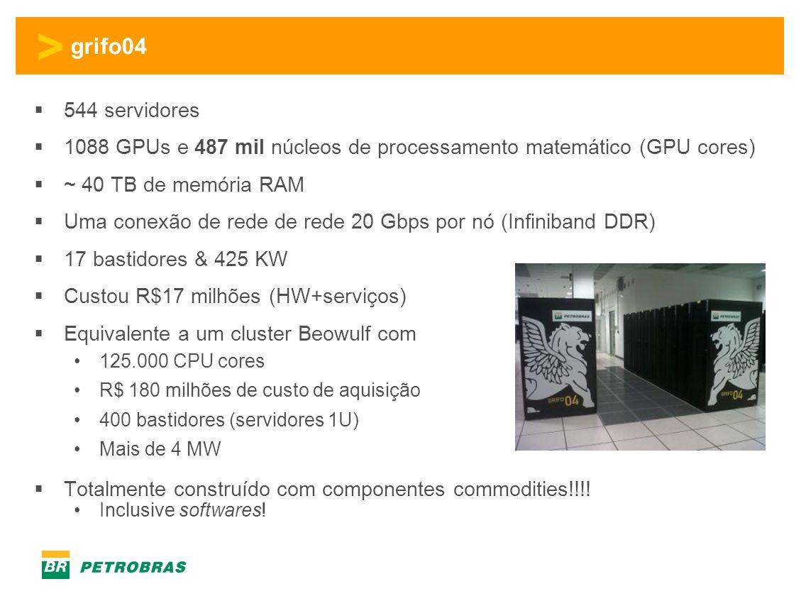 > grifo04 544 servidores 1088 GPUs e 487 mil núcleos de processamento matemático (GPU cores) ~ 40 TB de memória RAM Uma conexão de rede de rede 20 Gbps por nó (Infiniband DDR) 17 bastidores & 425 KW Custou R$17 milhões (HW+serviços) Equivalente a um cluster Beowulf com 125.000 CPU cores R$ 180 milhões de custo de aquisição 400 bastidores (servidores 1U) Mais de 4 MW Totalmente construído com componentes commodities!!!.