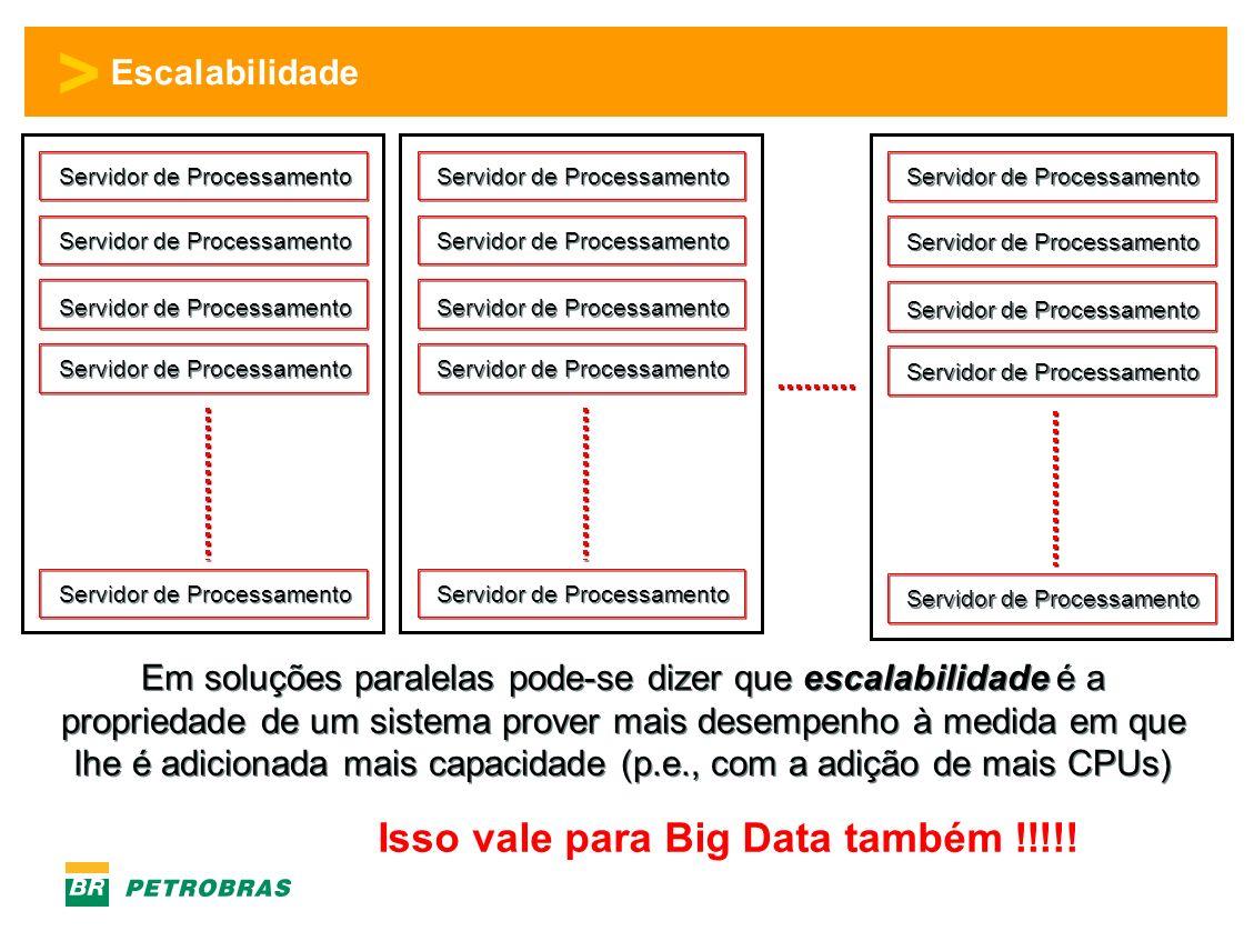 > Escalabilidade Servidor de Processamento Em soluções paralelas pode-se dizer que escalabilidade é a propriedade de um sistema prover mais desempenho à medida em que lhe é adicionada mais capacidade (p.e., com a adição de mais CPUs) Isso vale para Big Data também !!!!!