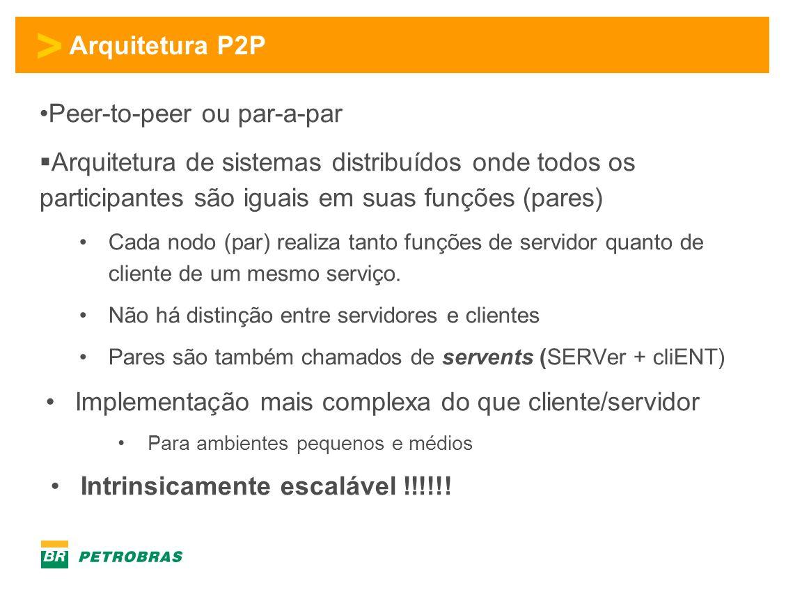 > Arquitetura P2P Peer-to-peer ou par-a-par Arquitetura de sistemas distribuídos onde todos os participantes são iguais em suas funções (pares) Cada nodo (par) realiza tanto funções de servidor quanto de cliente de um mesmo serviço.