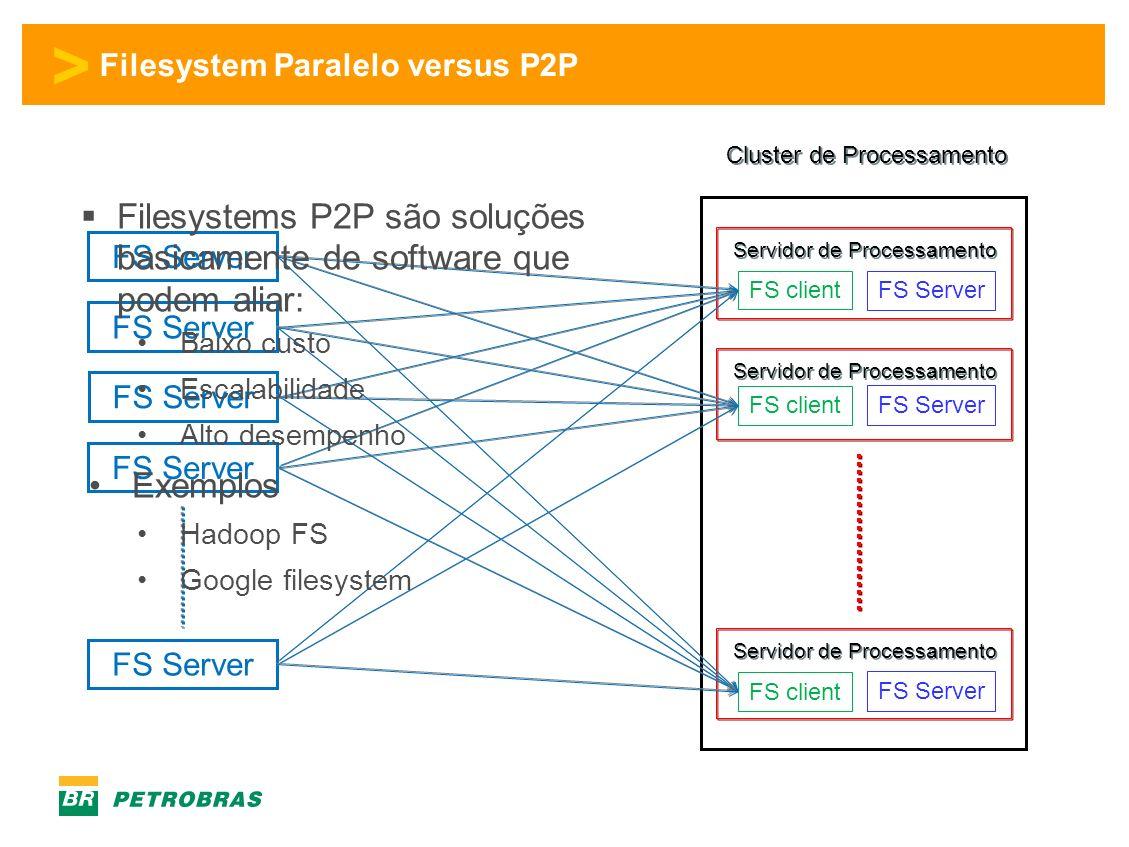 > Filesystem Paralelo versus P2P Cluster de Processamento Servidor de Processamento FS client FS Server Filesystems P2P são soluções basicamente de software que podem aliar: Baixo custo Escalabilidade Alto desempenho Exemplos Hadoop FS Google filesystem