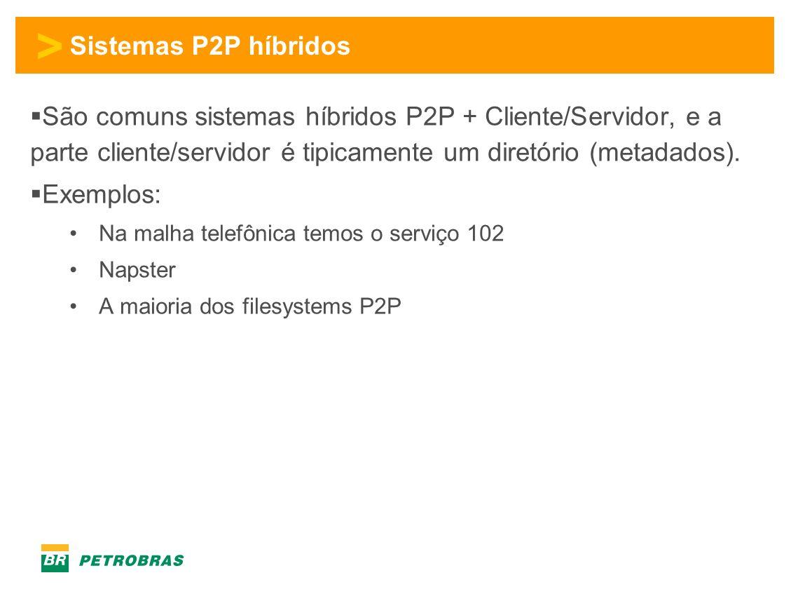 > Sistemas P2P híbridos São comuns sistemas híbridos P2P + Cliente/Servidor, e a parte cliente/servidor é tipicamente um diretório (metadados).