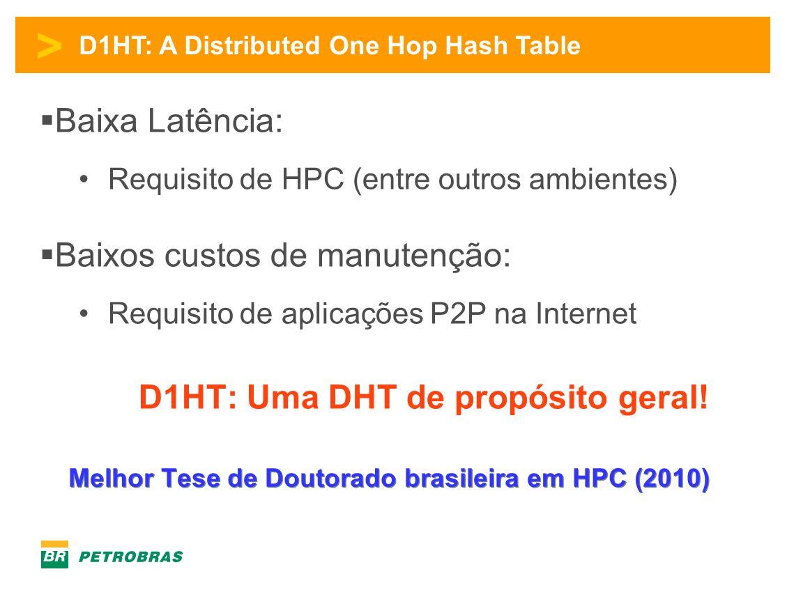 > D1HT: A Distributed One Hop Hash Table Baixa Latência: Requisito de HPC (entre outros ambientes) Baixos custos de manutenção: Requisito de aplicações P2P na Internet D1HT: Uma DHT de propósito geral.