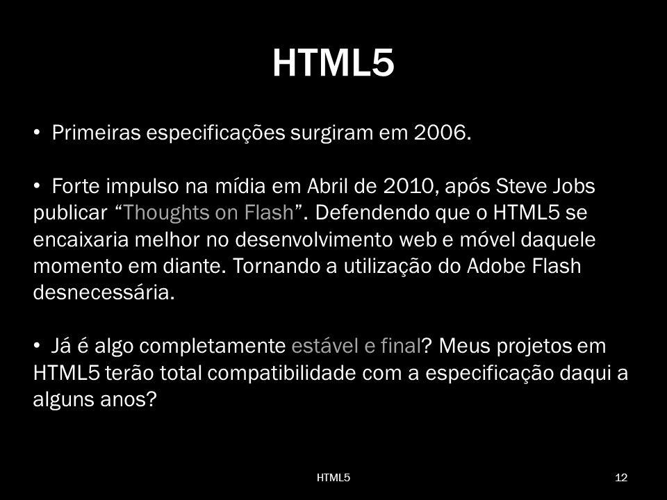 Primeiras especificações surgiram em 2006. Forte impulso na mídia em Abril de 2010, após Steve Jobs publicar Thoughts on Flash. Defendendo que o HTML5