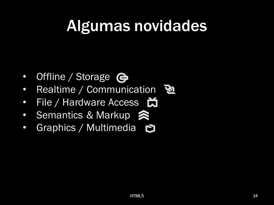 14HTML5 Algumas novidades Offline / Storage Realtime / Communication File / Hardware Access Semantics & Markup Graphics / Multimedia