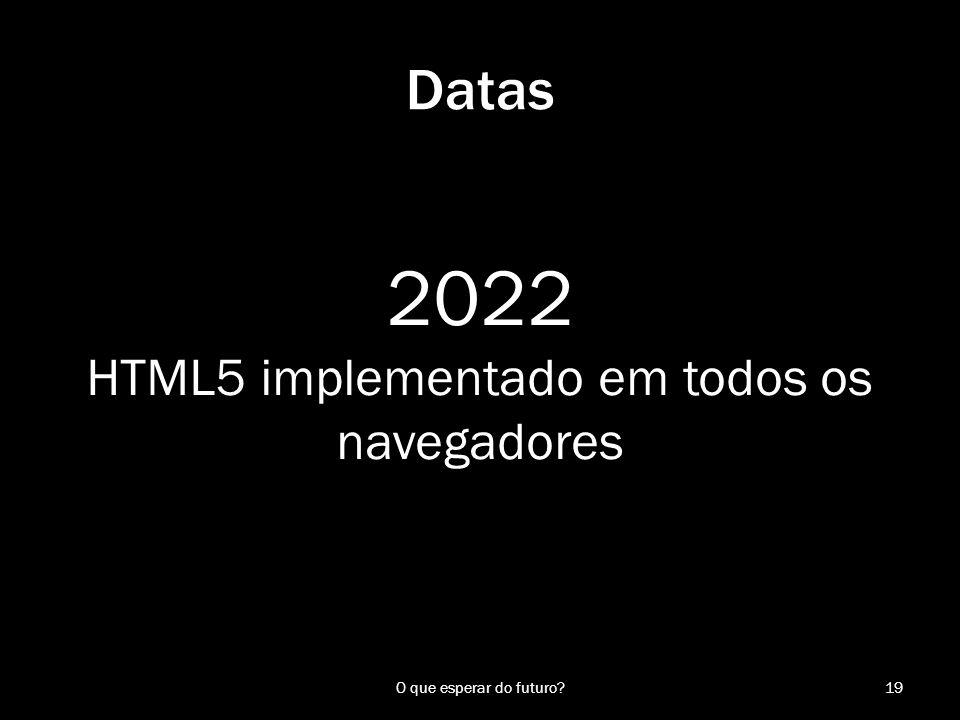 2022 HTML5 implementado em todos os navegadores 19O que esperar do futuro? Datas