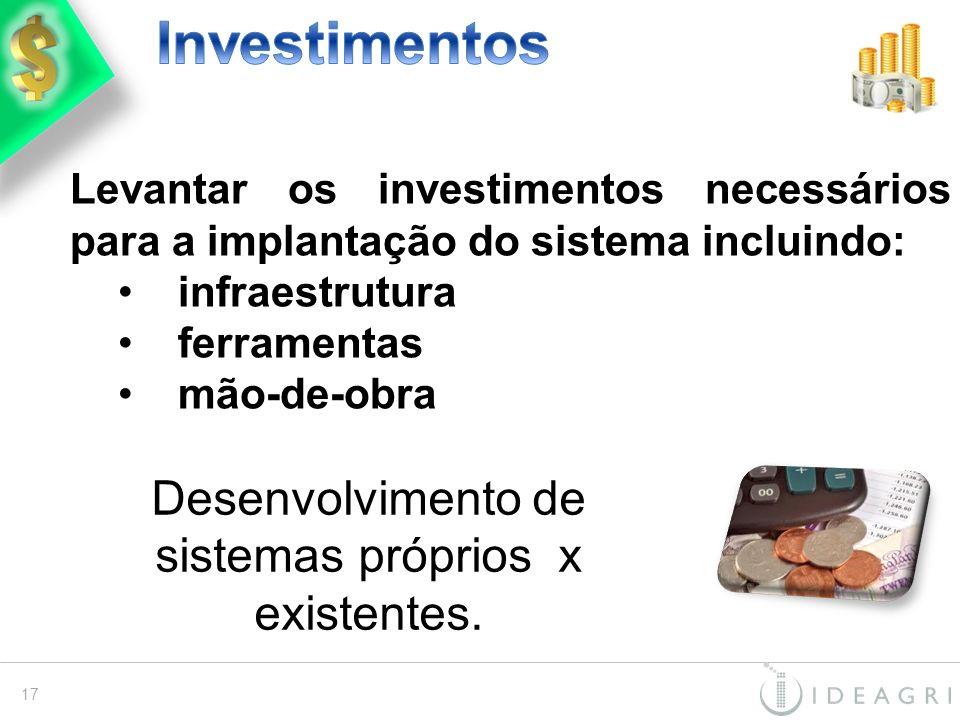 Levantar os investimentos necessários para a implantação do sistema incluindo: infraestrutura ferramentas mão-de-obra 17