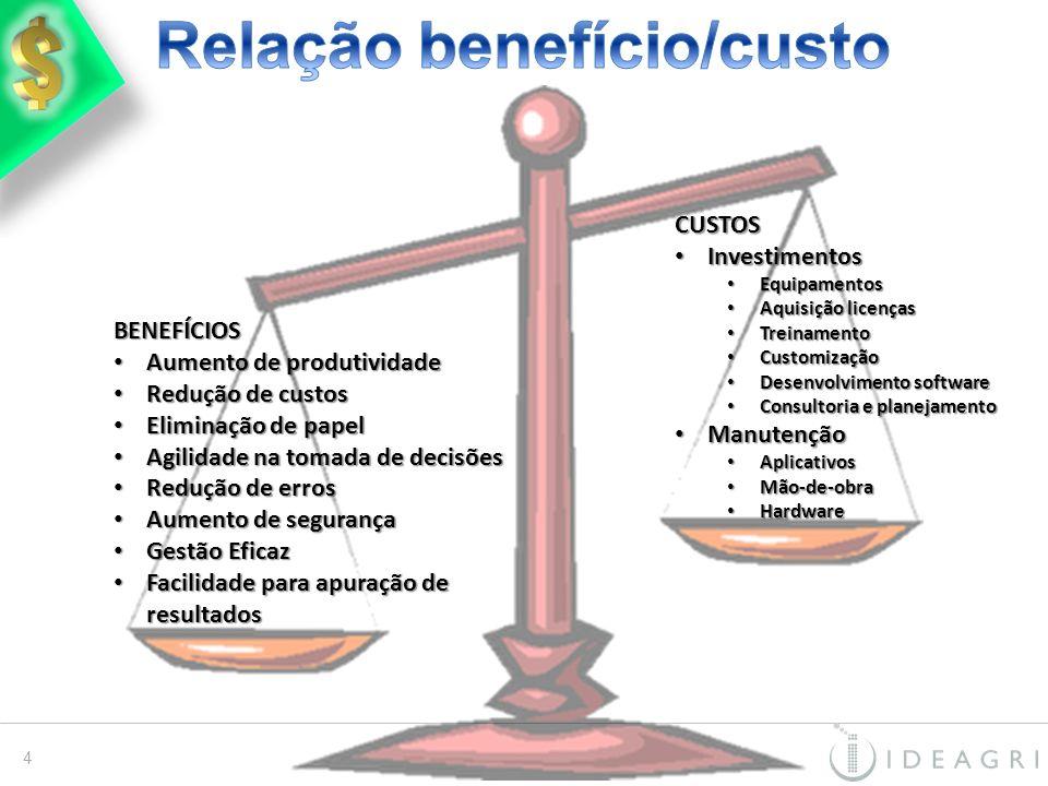 CUSTOS Investimentos Investimentos Equipamentos Equipamentos Aquisição licenças Aquisição licenças Treinamento Treinamento Customização Customização D
