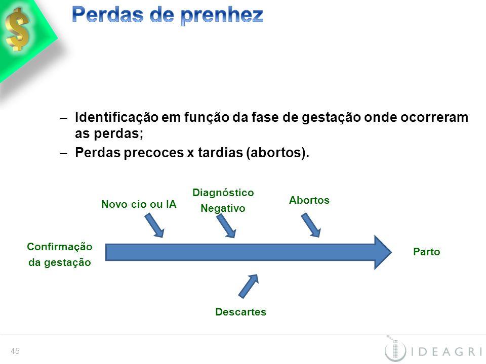 –Identificação em função da fase de gestação onde ocorreram as perdas; –Perdas precoces x tardias (abortos). Confirmação da gestação Parto Novo cio ou