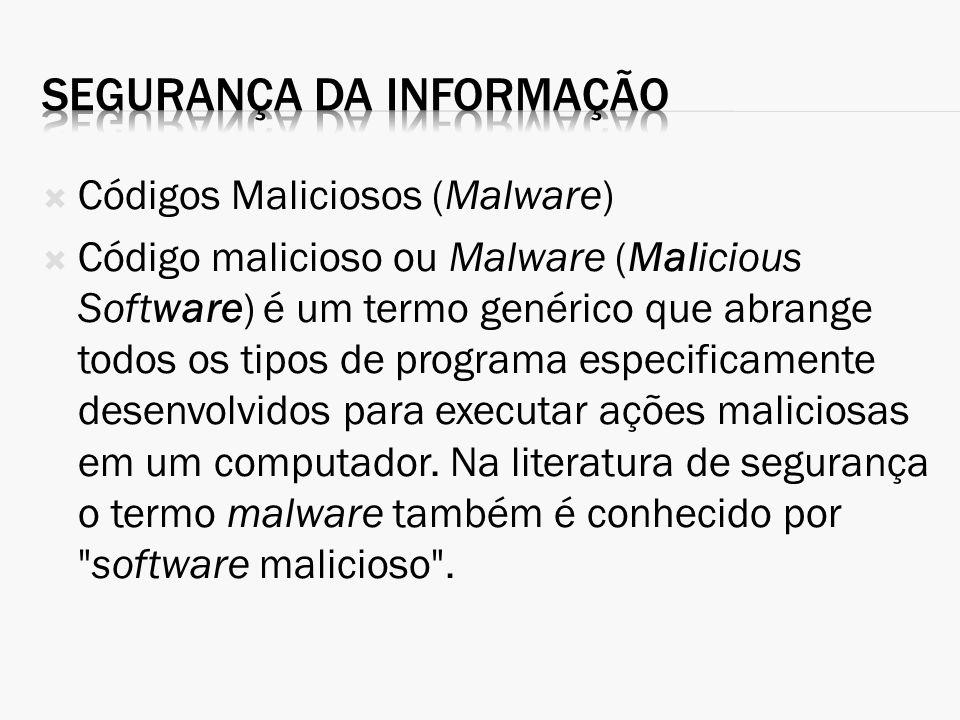 Códigos Maliciosos (Malware) Código malicioso ou Malware (Malicious Software) é um termo genérico que abrange todos os tipos de programa especificamen