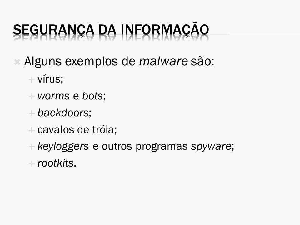 Alguns exemplos de malware são: vírus; worms e bots; backdoors; cavalos de tróia; keyloggers e outros programas spyware; rootkits.