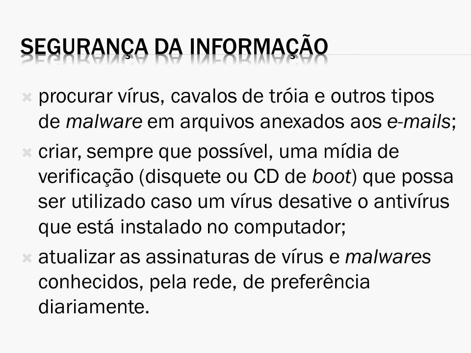 procurar vírus, cavalos de tróia e outros tipos de malware em arquivos anexados aos e-mails; criar, sempre que possível, uma mídia de verificação (dis