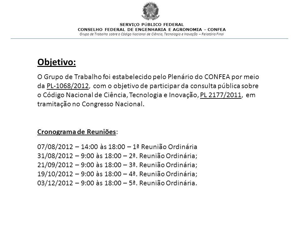 O Grupo de Trabalho foi estabelecido pelo Plenário do CONFEA por meio da PL-1068/2012, com o objetivo de participar da consulta pública sobre o Código