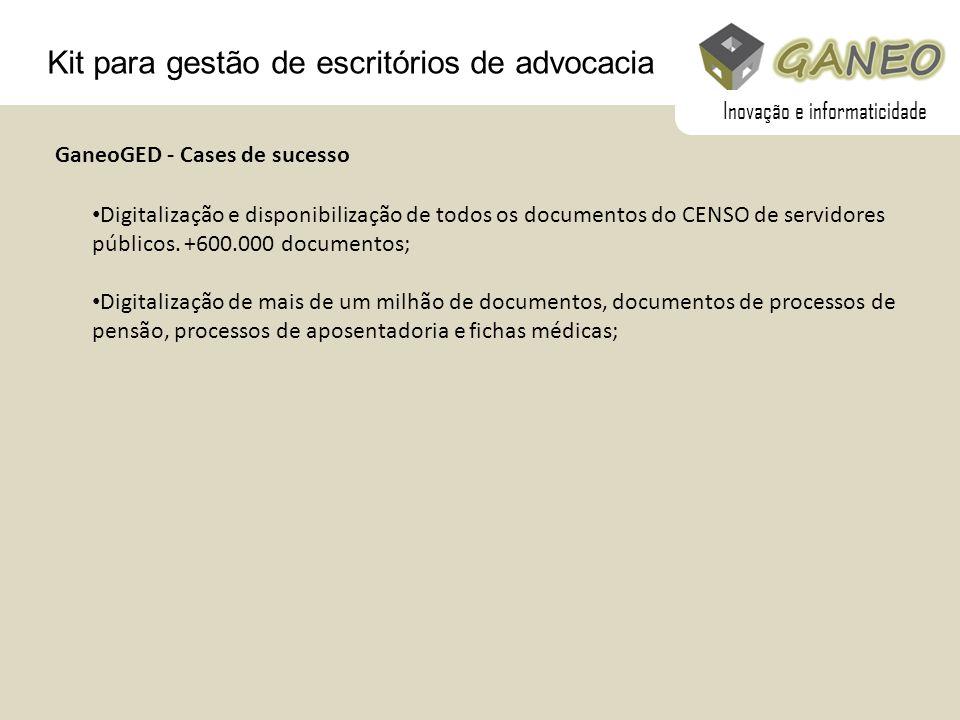 Kit para gestão de escritórios de advocacia Digitalização e disponibilização de todos os documentos do CENSO de servidores públicos. +600.000 document