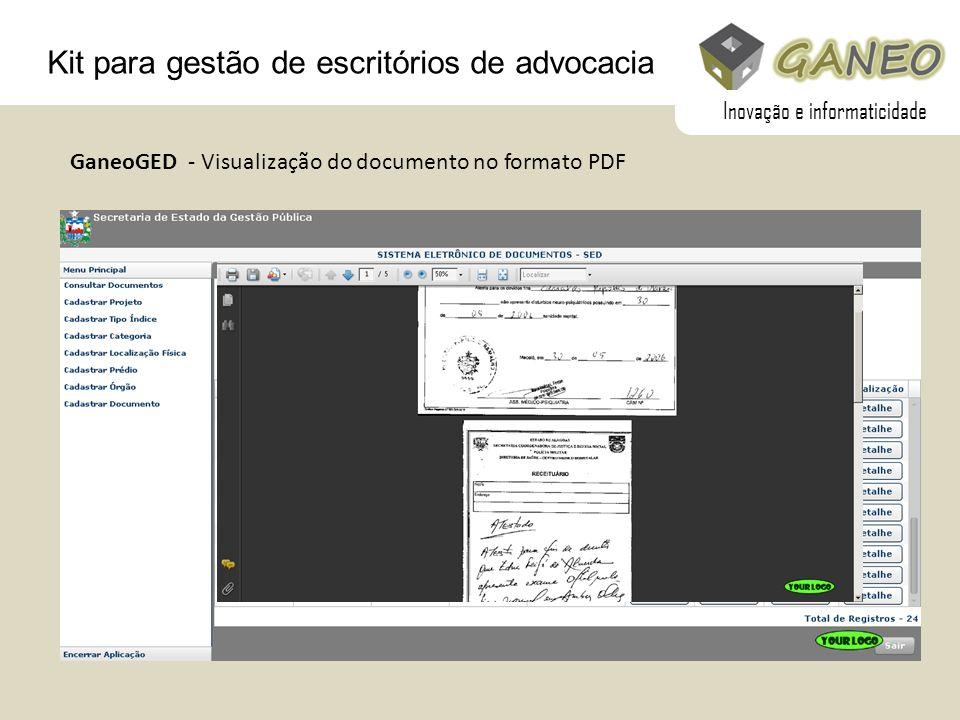 Kit para gestão de escritórios de advocacia GaneoGED - Visualização do documento no formato PDF Inovação e informaticidade