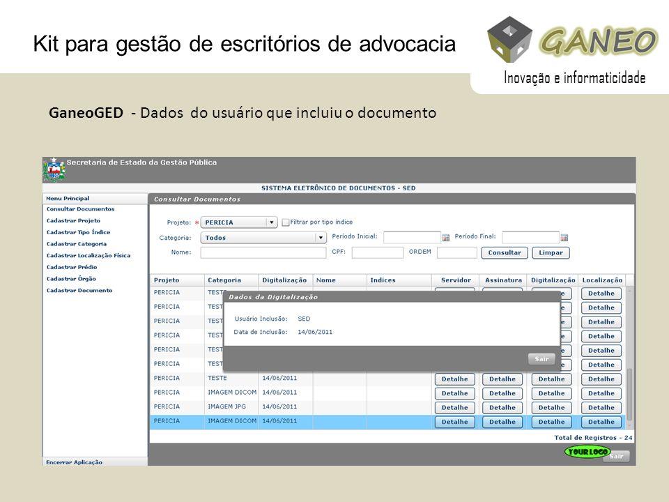 Kit para gestão de escritórios de advocacia GaneoGED - Dados do usuário que incluiu o documento Inovação e informaticidade