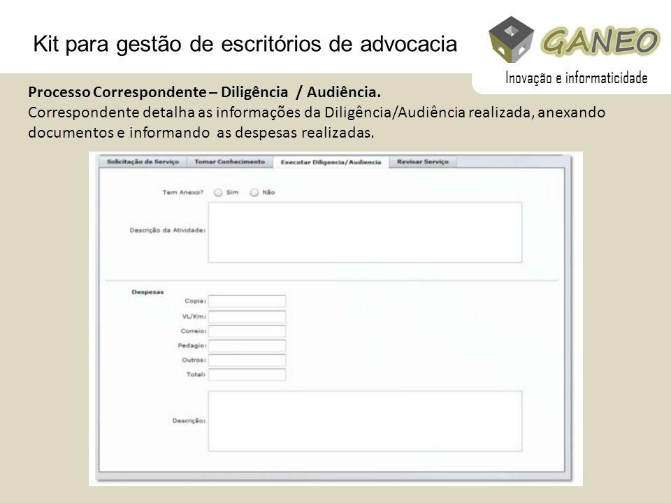 Kit para gestão de escritórios de advocacia Processo Correspondente – Diligência / Audiência. Correspondente detalha as informações da Diligência/Audi