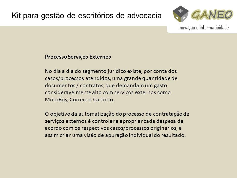 Kit para gestão de escritórios de advocacia Processo Serviços Externos No dia a dia do segmento jurídico existe, por conta dos casos/processos atendid