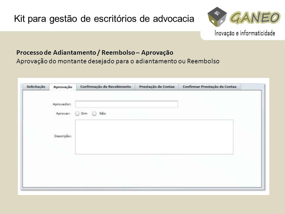 Kit para gestão de escritórios de advocacia Processo de Adiantamento / Reembolso – Aprovação Aprovação do montante desejado para o adiantamento ou Ree