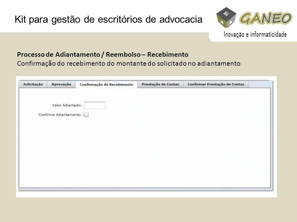 Kit para gestão de escritórios de advocacia Processo de Adiantamento / Reembolso – Recebimento Confirmação do recebimento do montante do solicitado no
