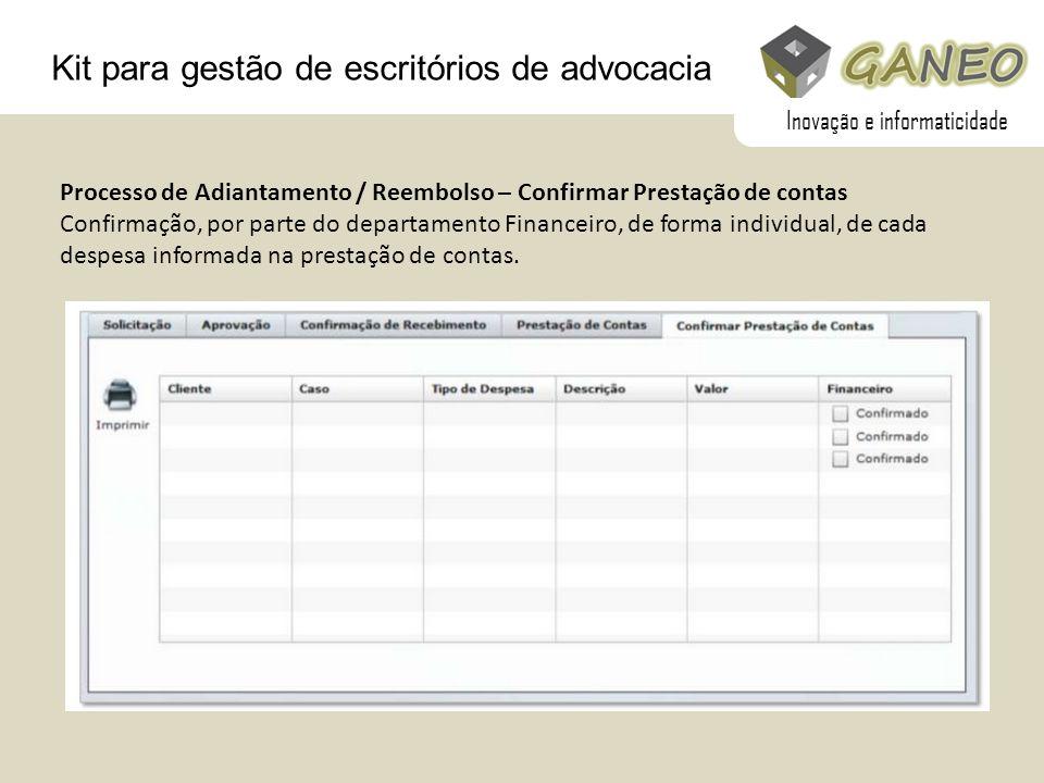 Kit para gestão de escritórios de advocacia Processo de Adiantamento / Reembolso – Confirmar Prestação de contas Confirmação, por parte do departament