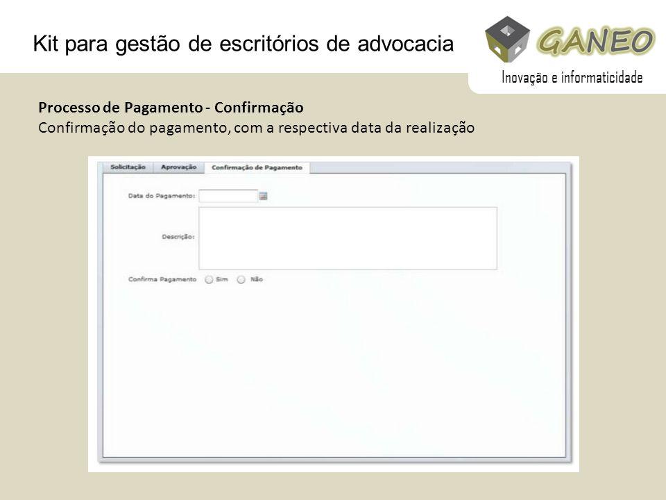 Kit para gestão de escritórios de advocacia Processo de Pagamento - Confirmação Confirmação do pagamento, com a respectiva data da realização Inovação